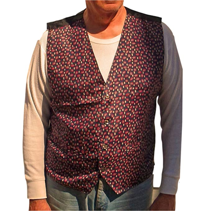Vest At Bogari Studio Mens Washable Casual Diamomd 100Silk Pattern jL354ARq