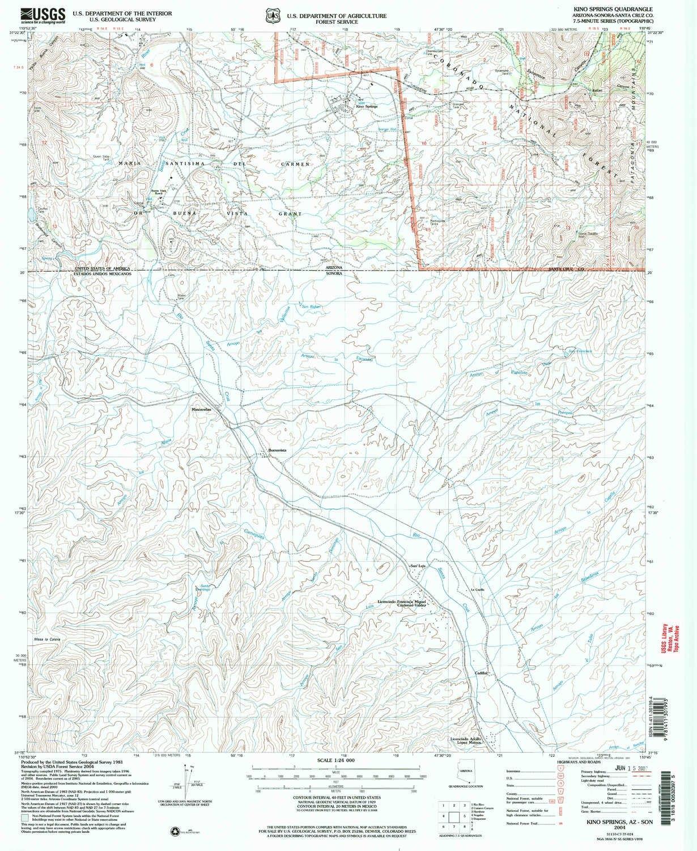 Amazon.com : YellowMaps Kino Springs AZ topo map, 1:24000 Scale, 7.5 on