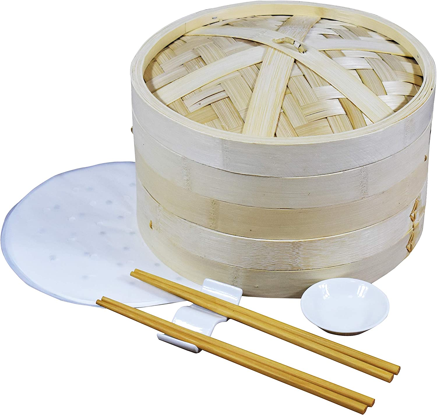 The 2-layer 10-inch bamboo steamer can cook rice, vegetables, meat, etc. This bamboo steamer basket is equipped with 2 pairs of chopsticks, 1 seasoning plate, 1 chopstick holder and 20 steamer papers.