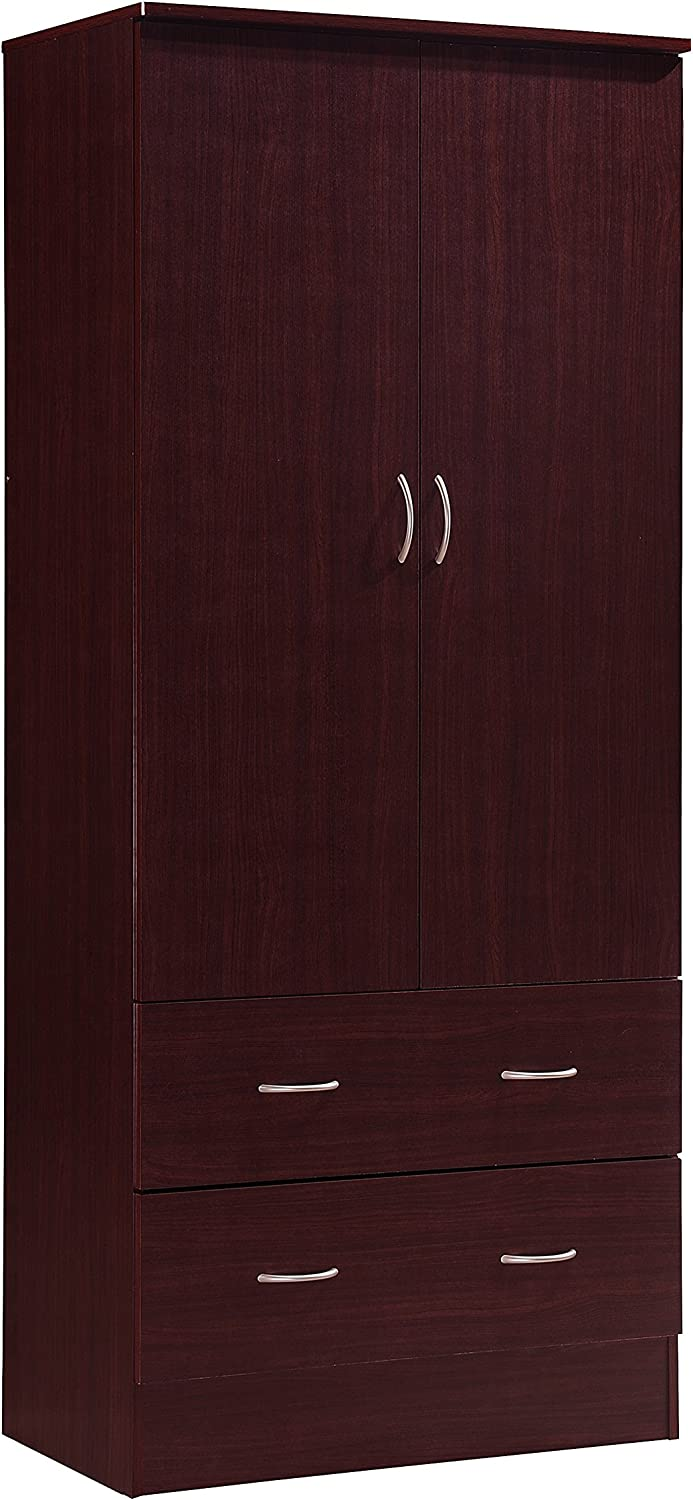 Hodedah Two Door Wardrobe, with Two Drawers, and Hanging Rod, Mahogany