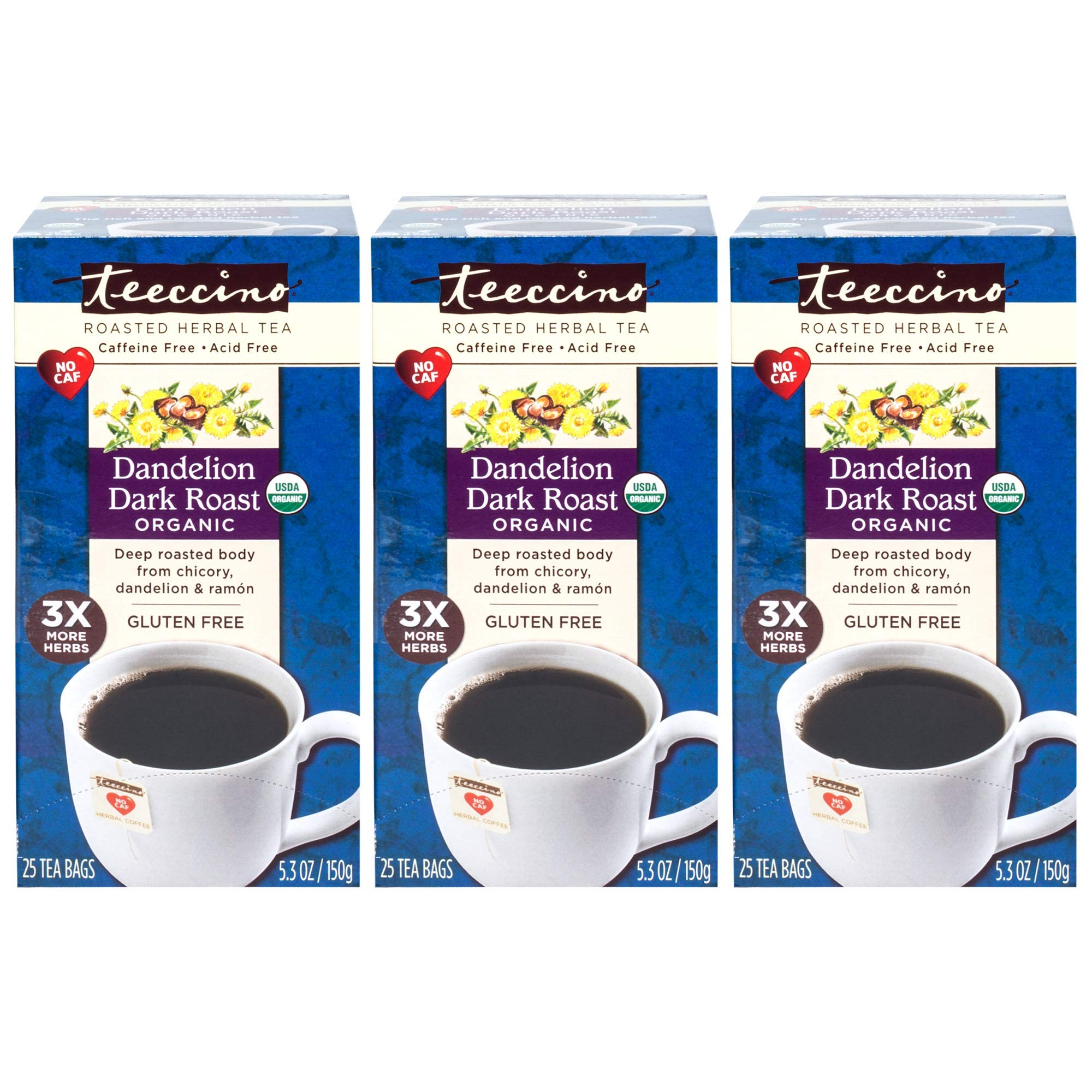 Teeccino Organic Dandelion Dark Roast Chicory Herbal Tea Bags, Gluten Free, Caffeine Free, Acid Free, 25 Count (Pack of 3) by Teeccino