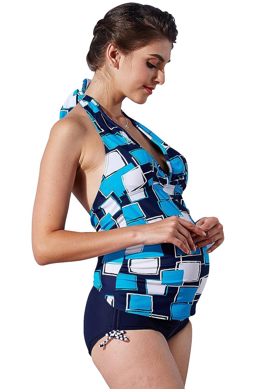 Sweet Mommy マタニティ 水着 3点セット ソフトパッド付 スクエアプリント タンキニ デニム風ショートパンツ ホルターネック スイムウェア 大きいサイズ 夏 産前産後/LL/ブルー B0747JVM1N LL|ブルー ブルー LL