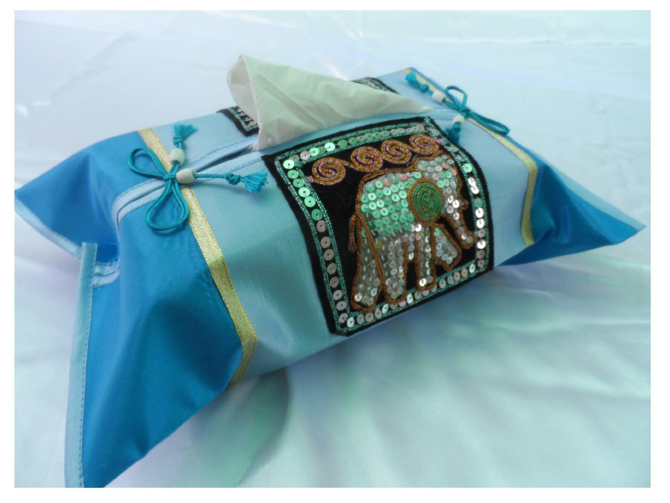 Birthday or Housewarming Christmas Gift Idea - Thai Silk Tissue Box Cover Holder (Blue) with Elephant - Thai Silk/Standard Size