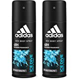 Adidas Ice Dive Deodorant Body Spray for Men Combo (Pack of 2), 150ml