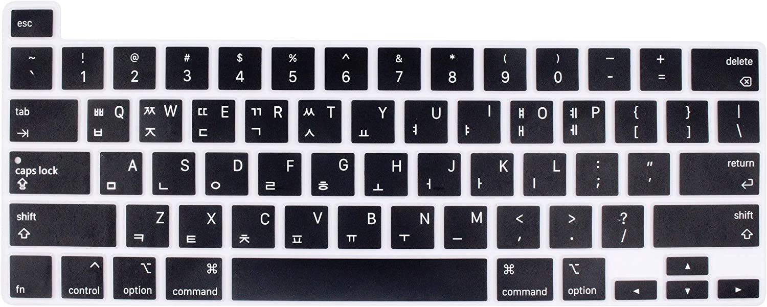 Korean Language Silicone Keyboard Cover Skin Protector Compatible with 2019 Newest MacBook Pro 16 inch with Retina Display Model A2141 (Black)