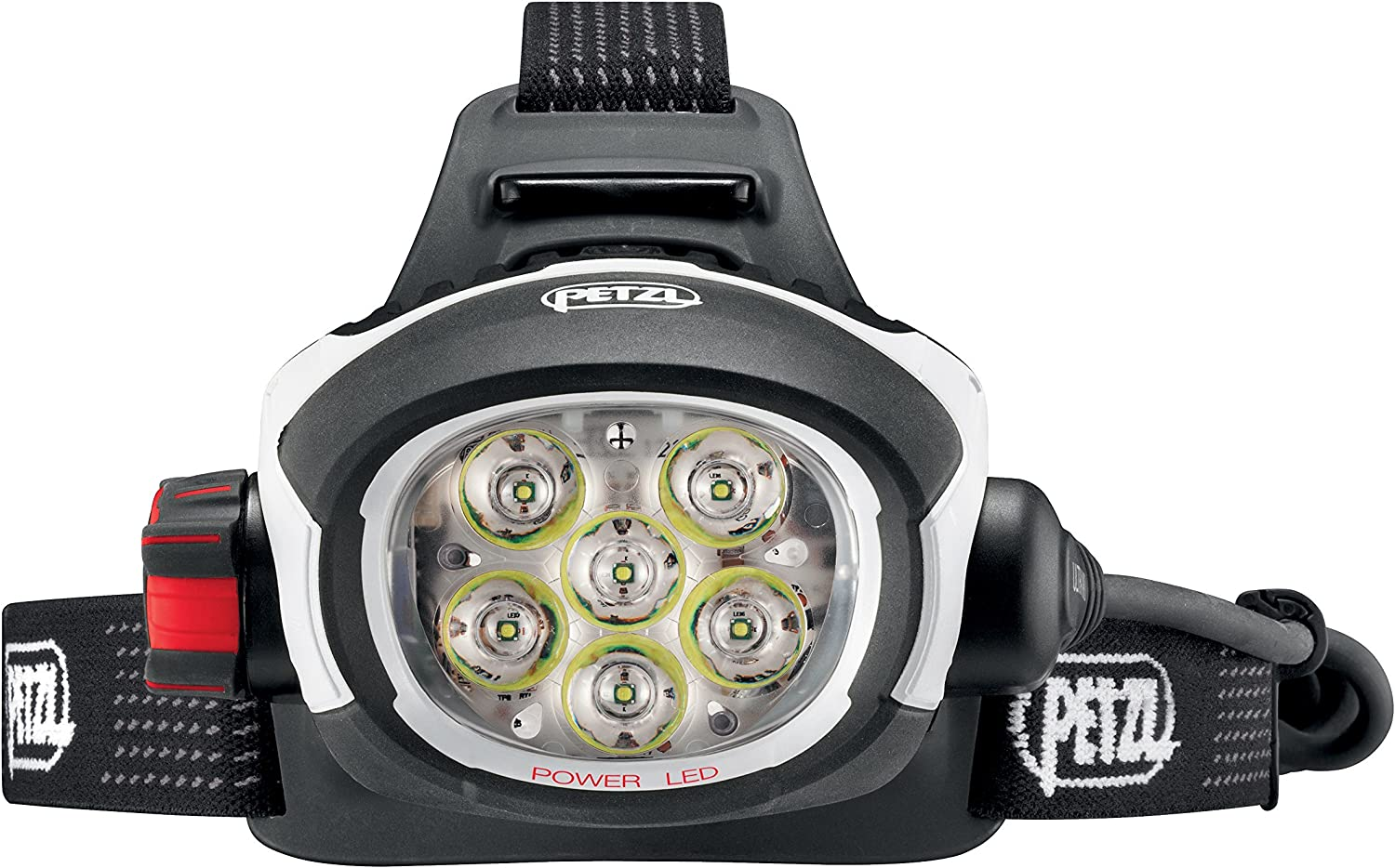 This is an image of the PETZL headlamp with lens facing front with six LED bulbs as seen.