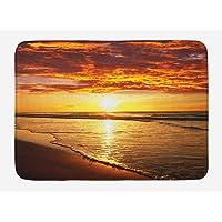 Hawaiian Bath Mat, Dramatic Sunset Scenery Calm Exotic Beach Ocean Waves Coastal View, Plush Bathroom Decor Mat with Non Slip Backing, 23.6 W X 15.7 W Inches, Orange Dark Orange Yellow
