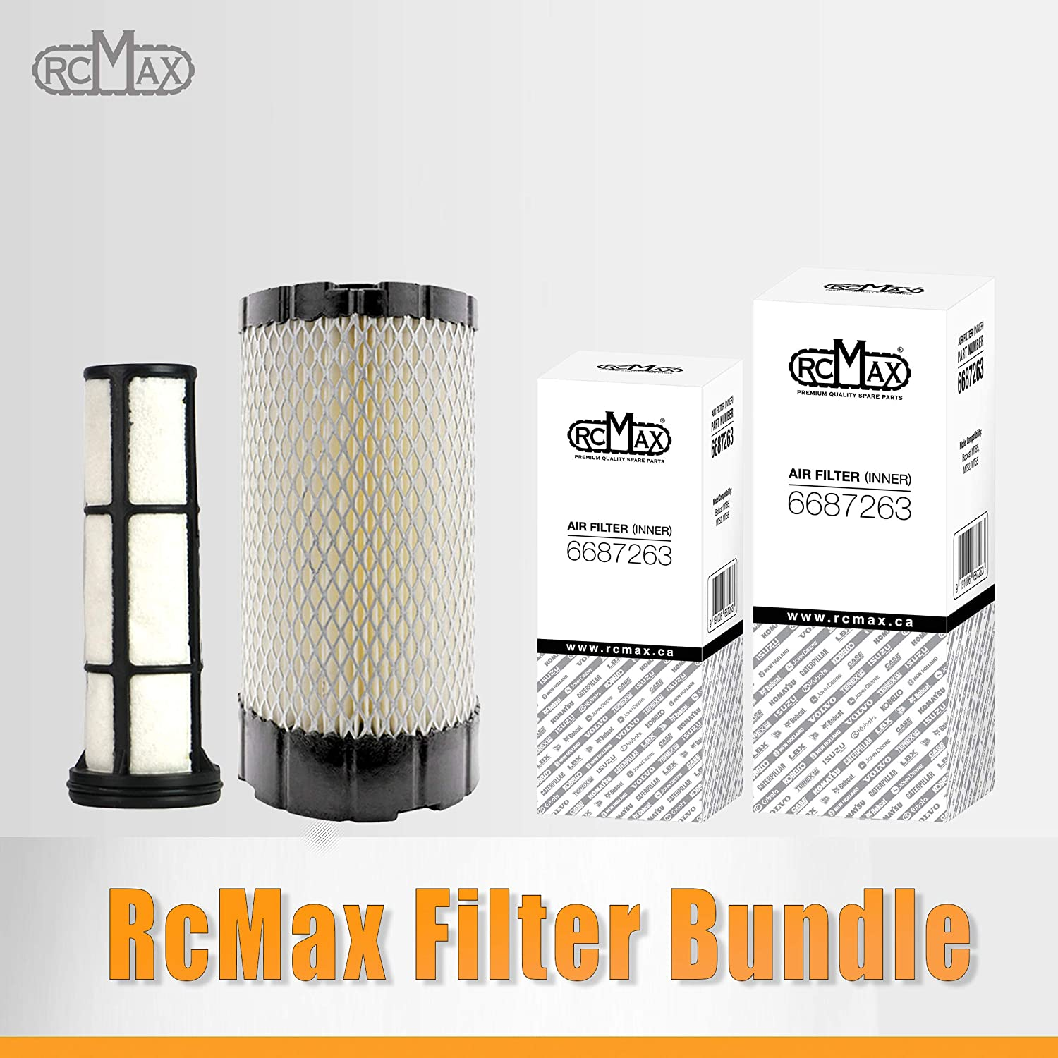 Replacement for Bobcat OEM 6687262 /& 6687263 Pack of 1. Premium Quality OUTER /& INNER Air Filter RcMax Air Filter Bundle