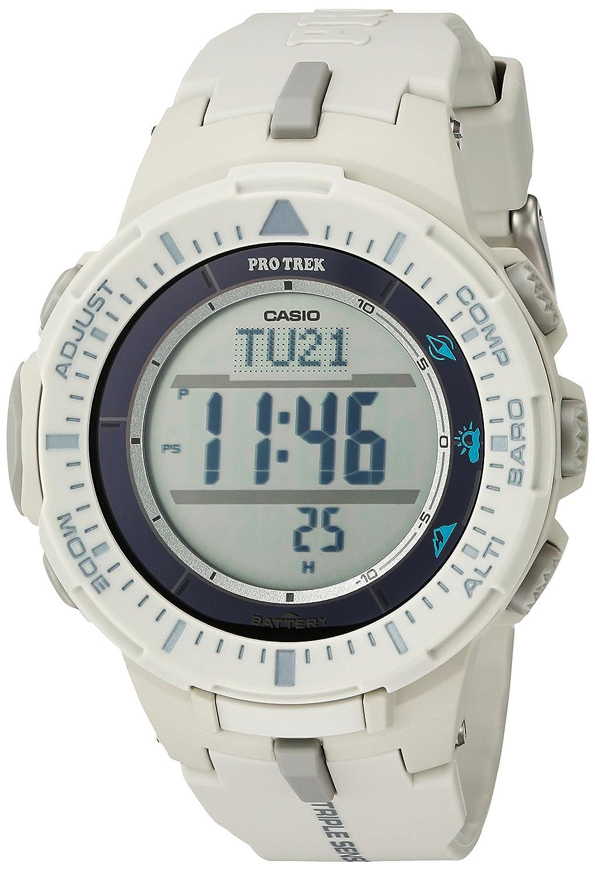 Casio Men s ProTrek Triple Sensor Quartz Resin Watch, Color White Model PRG-300-8CR