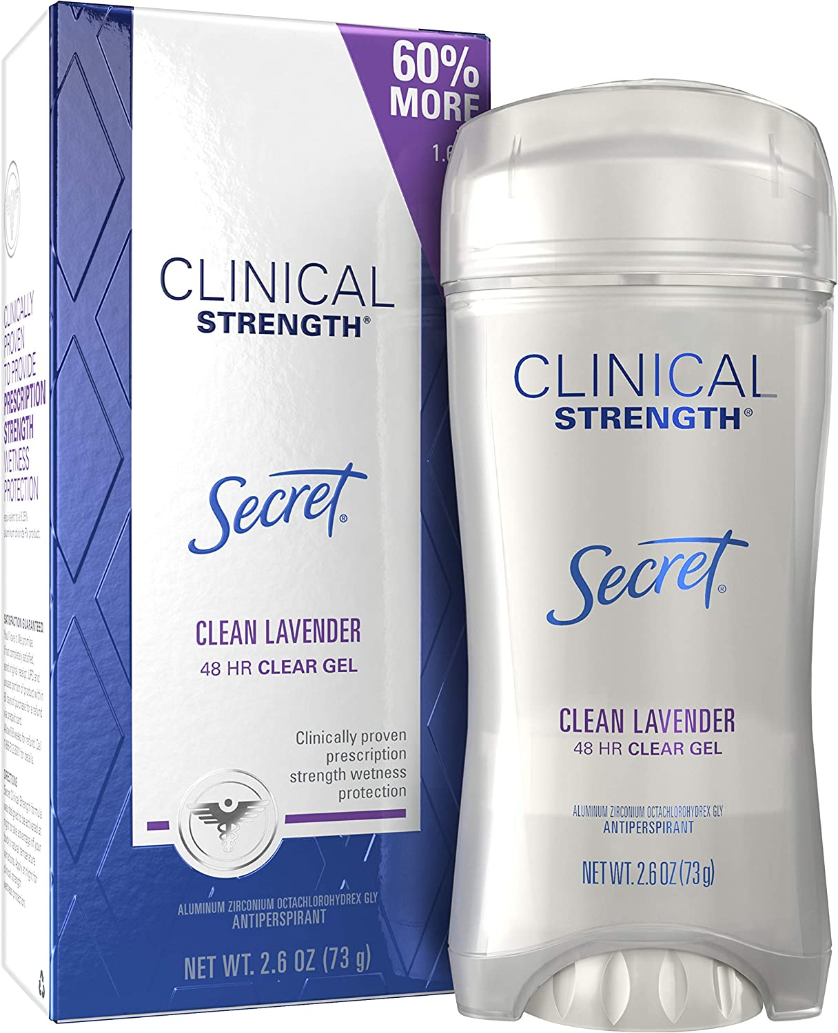 Secret Clinical Strength Antiperspirant and Deodorant for Women Clear Gel, Clean Lavender 2.6 oz