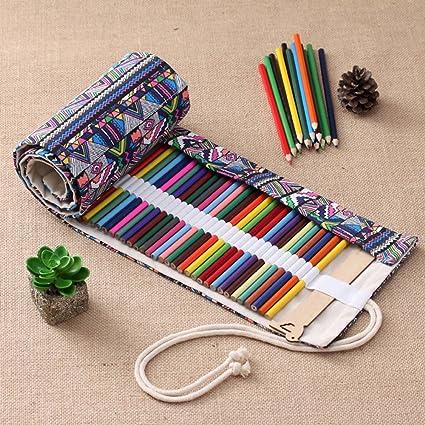 Estuche de lona de colores hecho a mano para lápices de 36/48 lazos, estuche escolar, rollo de lona, estuche de maquillaje, estuche para guardar bolígrafos, caja de almacenamiento 48 Loops: Amazon.es: Oficina