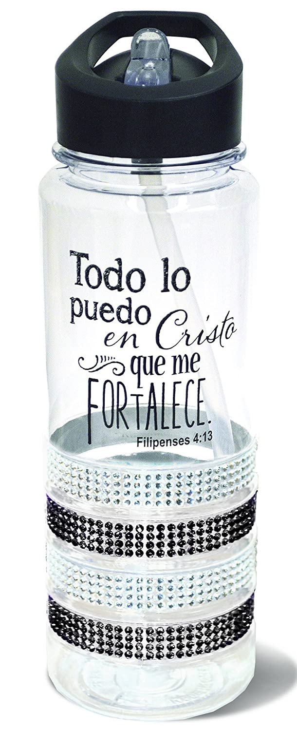 Amazon.com: Botella de Agua de Plastico Negro Gemas 25 Ounce Verso Biblico Filipenses 4:13: Home & Kitchen