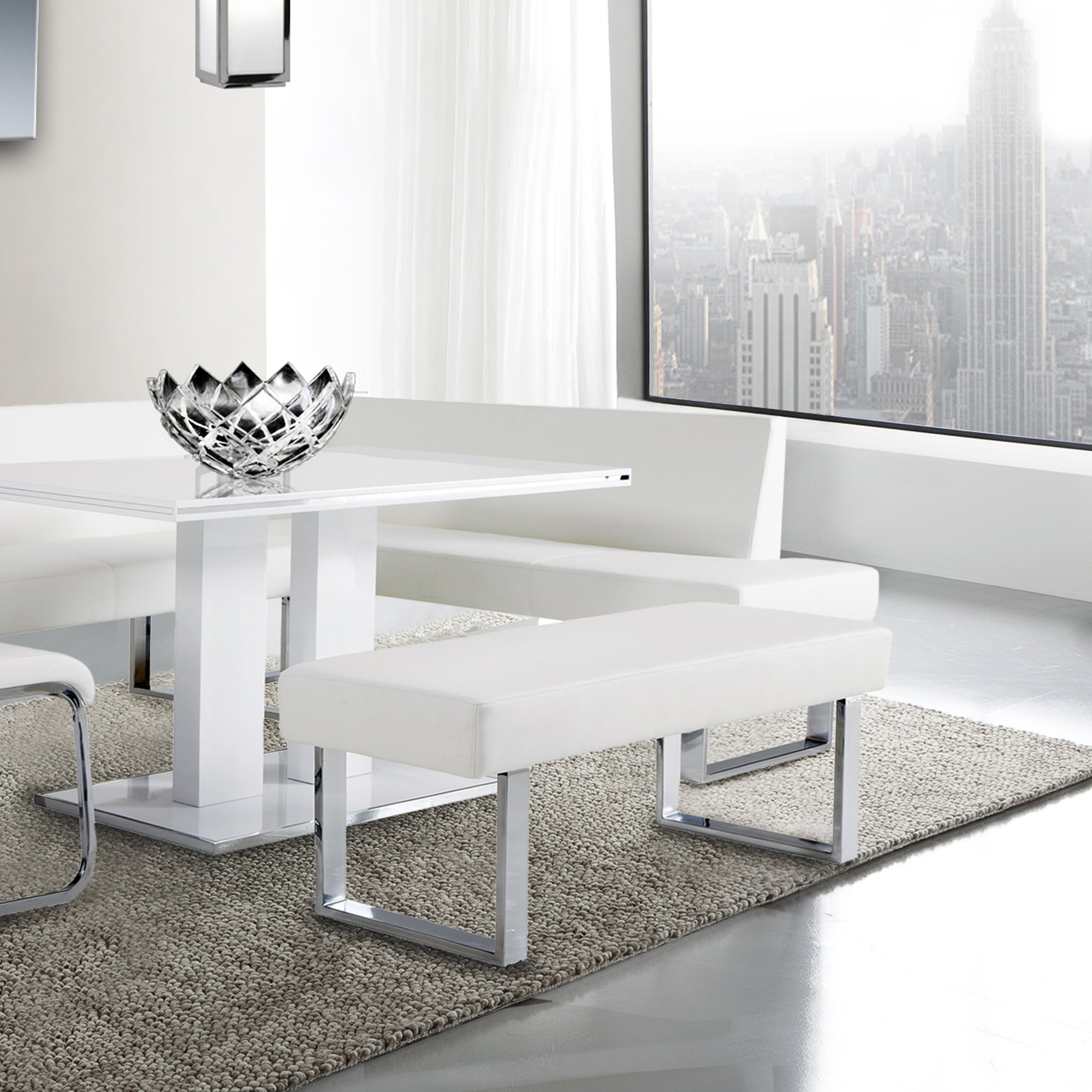 Armen Living  Amanda Bench in White and Chrome Finish by Armen Living