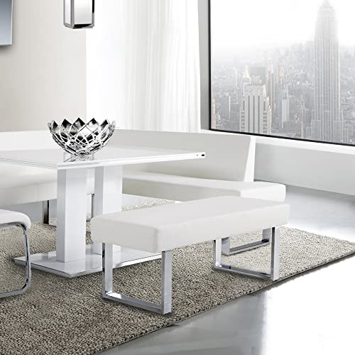 Armen Living Amanda Bench in White and Chrome Finish