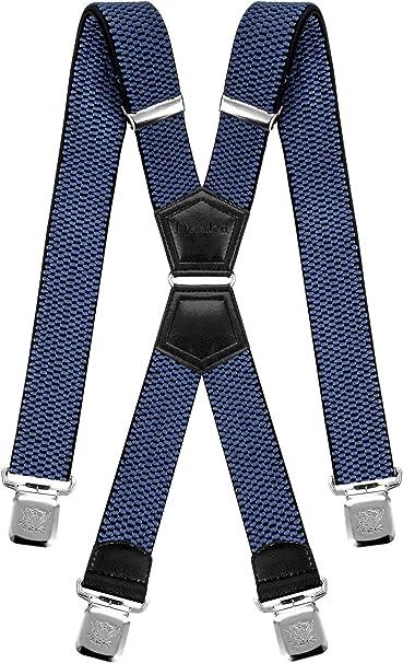 Decalen Tirantes Hombre Elásticos Ancho 40 mm con Clips Extra Fuerte Una Talla Para Todos (Azul): Amazon.es: Ropa y accesorios