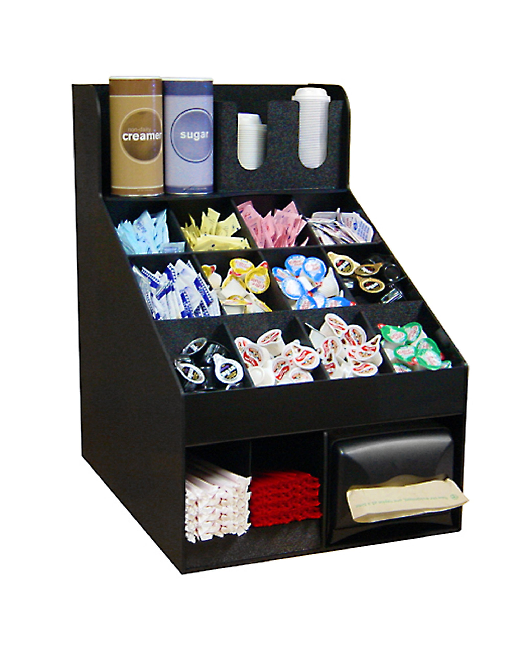 Coffee Condiment Organizer For Large Offices or Convenience Stores. Only 16''Wide & Look what it Holds! 3 Movable Dividers on first shelf. Proudly Made in USA! and Only by PPM.