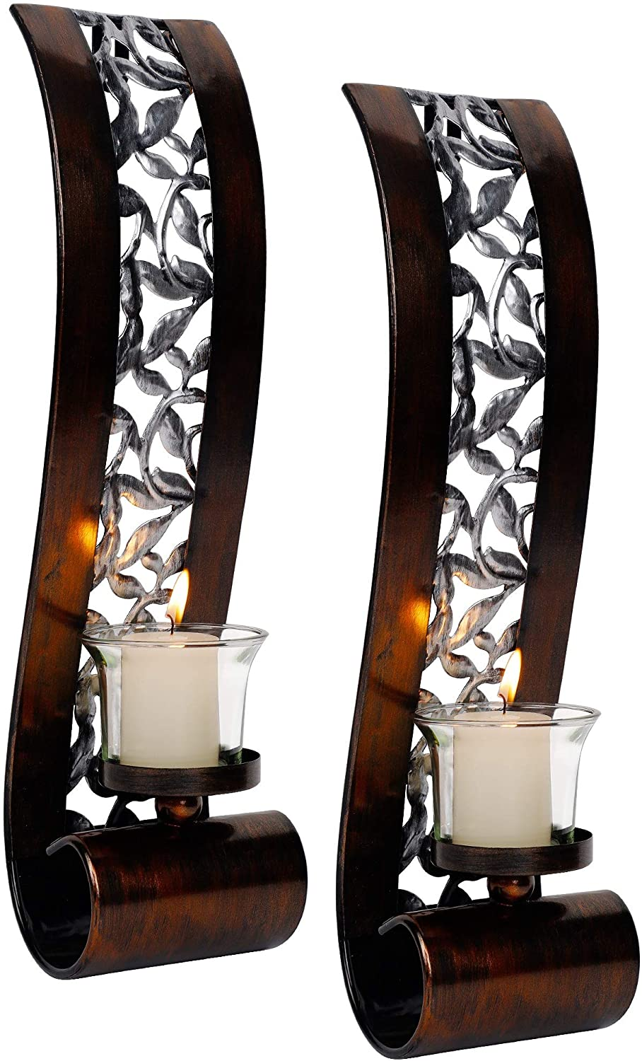 Shelving Solution Wall Sconce, with Tea Light Candle Holder Antique Bronze Style Metal Wall Art Decorations for Living Room, Bathroom, Dining Room and Office, Set of 2