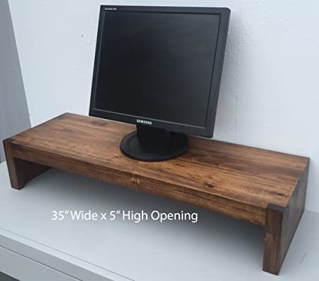 Ideas to Home TV Monitor Riser Stand Modern Rustic Style in Solid Albus Wood 38 W x 12 D x 7 H, Coffee