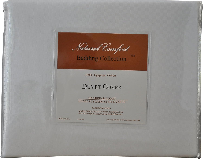 Queen Natural Comfort Elegant 300 TC White Duvet Cover Single Ply 100-Percent Egyptian Cotton Checker Pattern