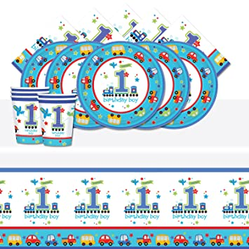 All Aboard 1st Birthday Boy Blue Complete Party Supplies Kit For 16 Plates Cups Napkins Table