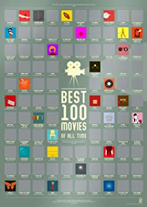 "100 Best Movies Scratch Off Poster by Travel Revealer - Best Films of All Time Bucket List Movie Poster (17""x24"") Minimalist Modern Design by British Artist. Each Film Icon Unique."