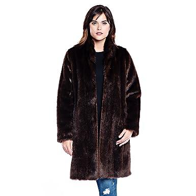 87c24b930ba Donna Salyers' Fabulous-Furs Signature Knee Length Faux Fur Coat (Sable, ...