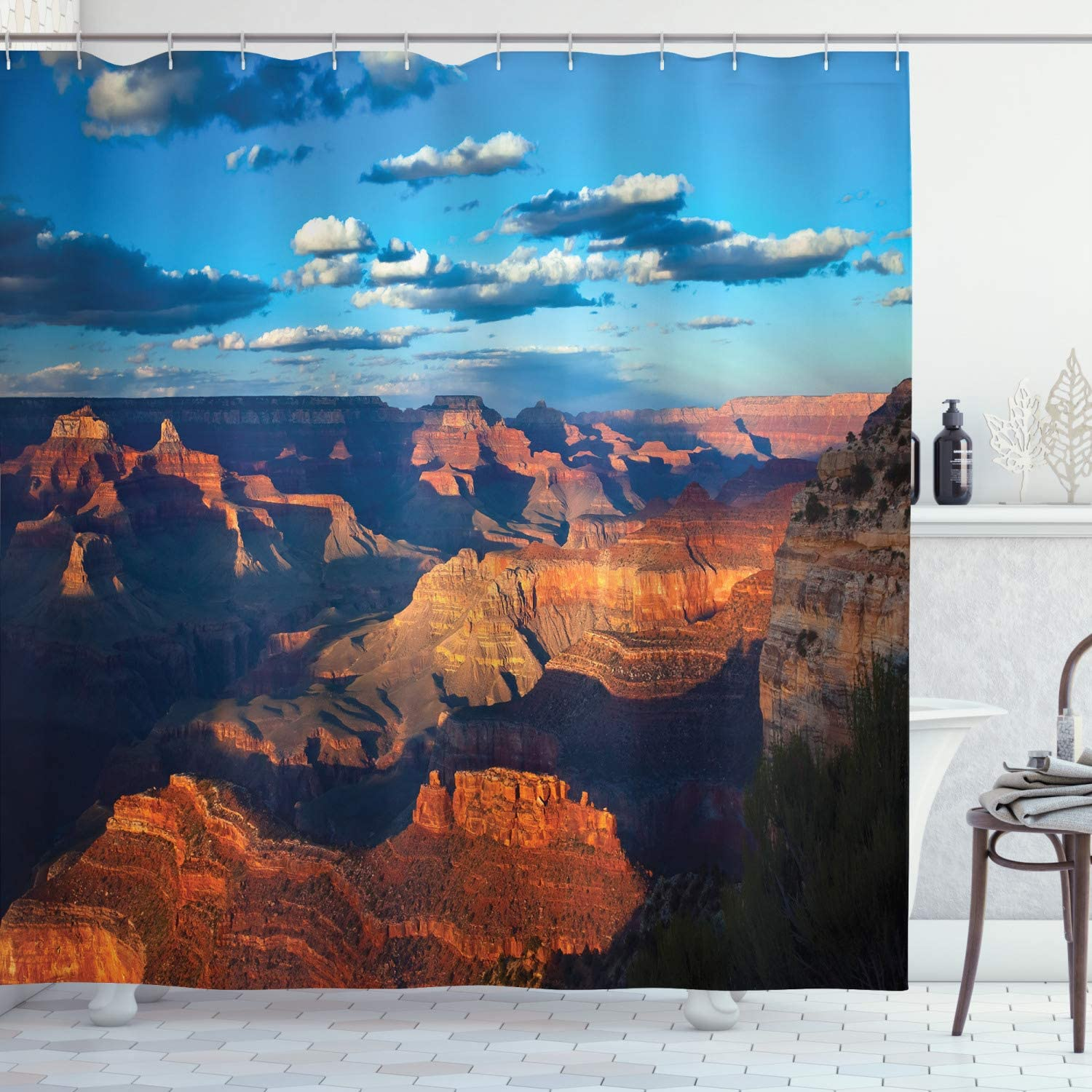 """Lunarable Grand Canyon Shower Curtain, Historic Rocky Formation at Sunrise Sky and Clouds Photo, Cloth Fabric Bathroom Decor Set with Hooks, 70"""" Long, Rust Sky"""