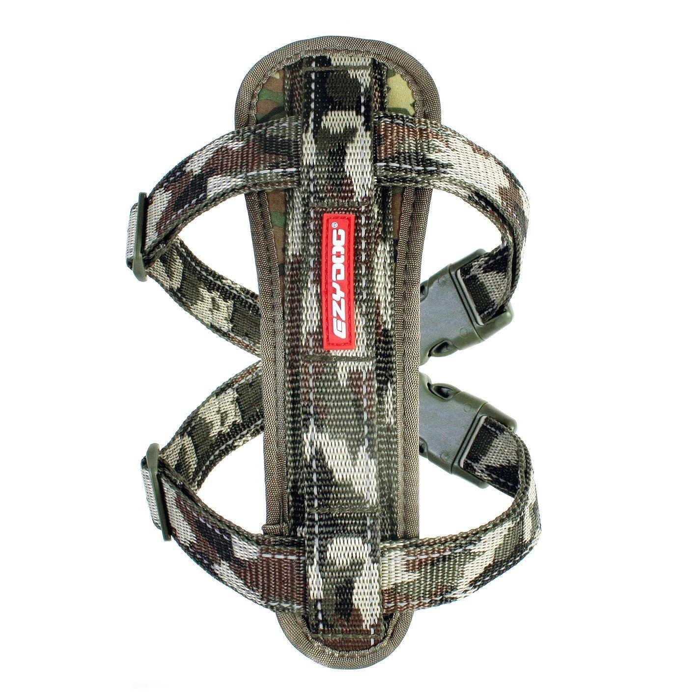 EzyDog Chest Plate Dog Harness & Car Restraint Top Quality Reflective Green Camo Small