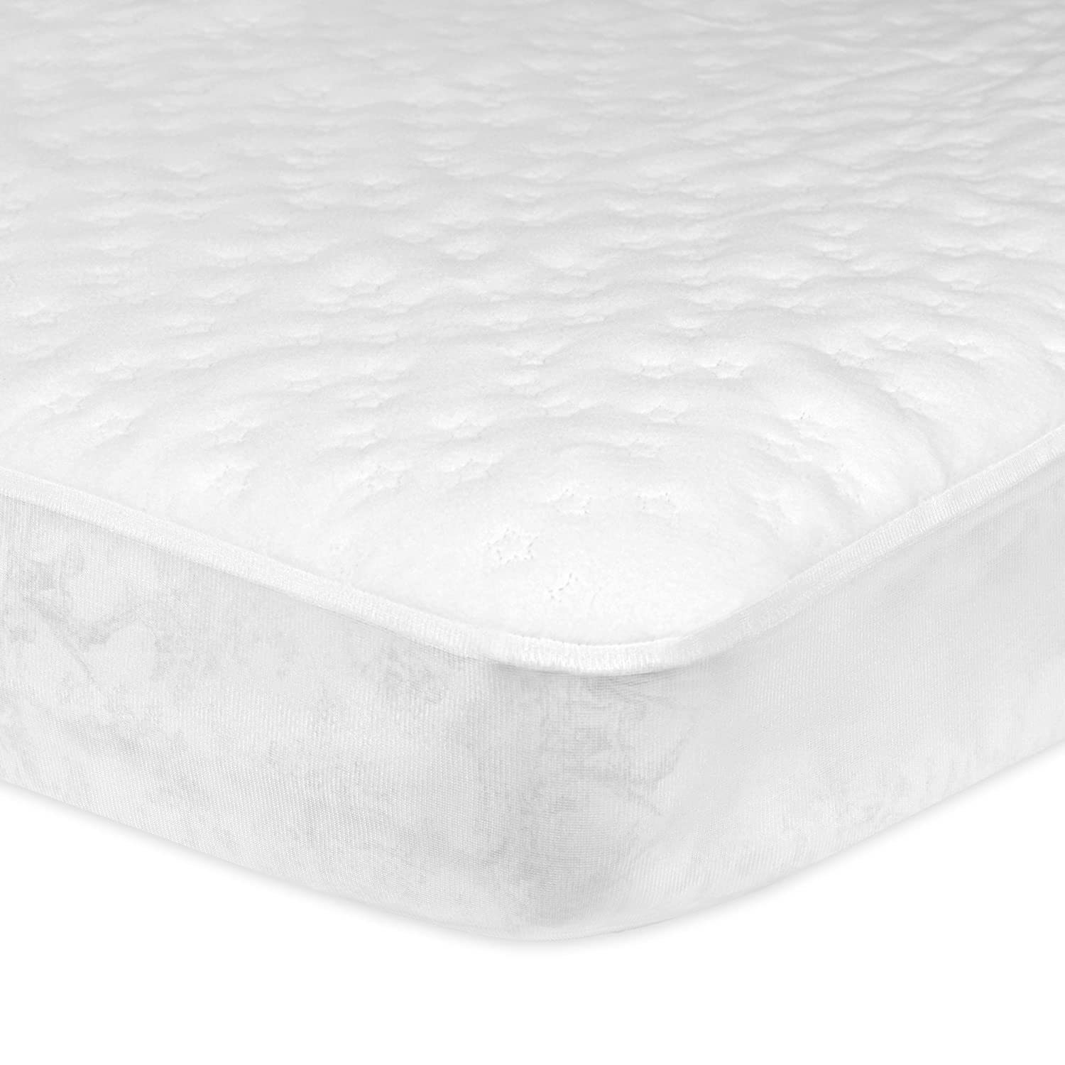 Gerber Fitted Crib Pad with Waterproof Barrier, White, 28