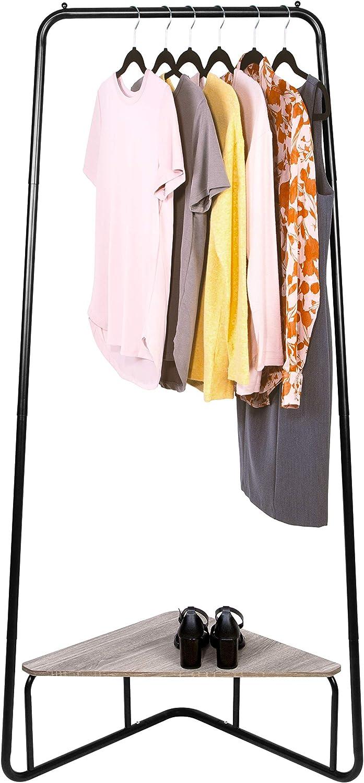 East Bank Designs Corner Garment Rack, Matte Black with Wood Grain Laminate Top