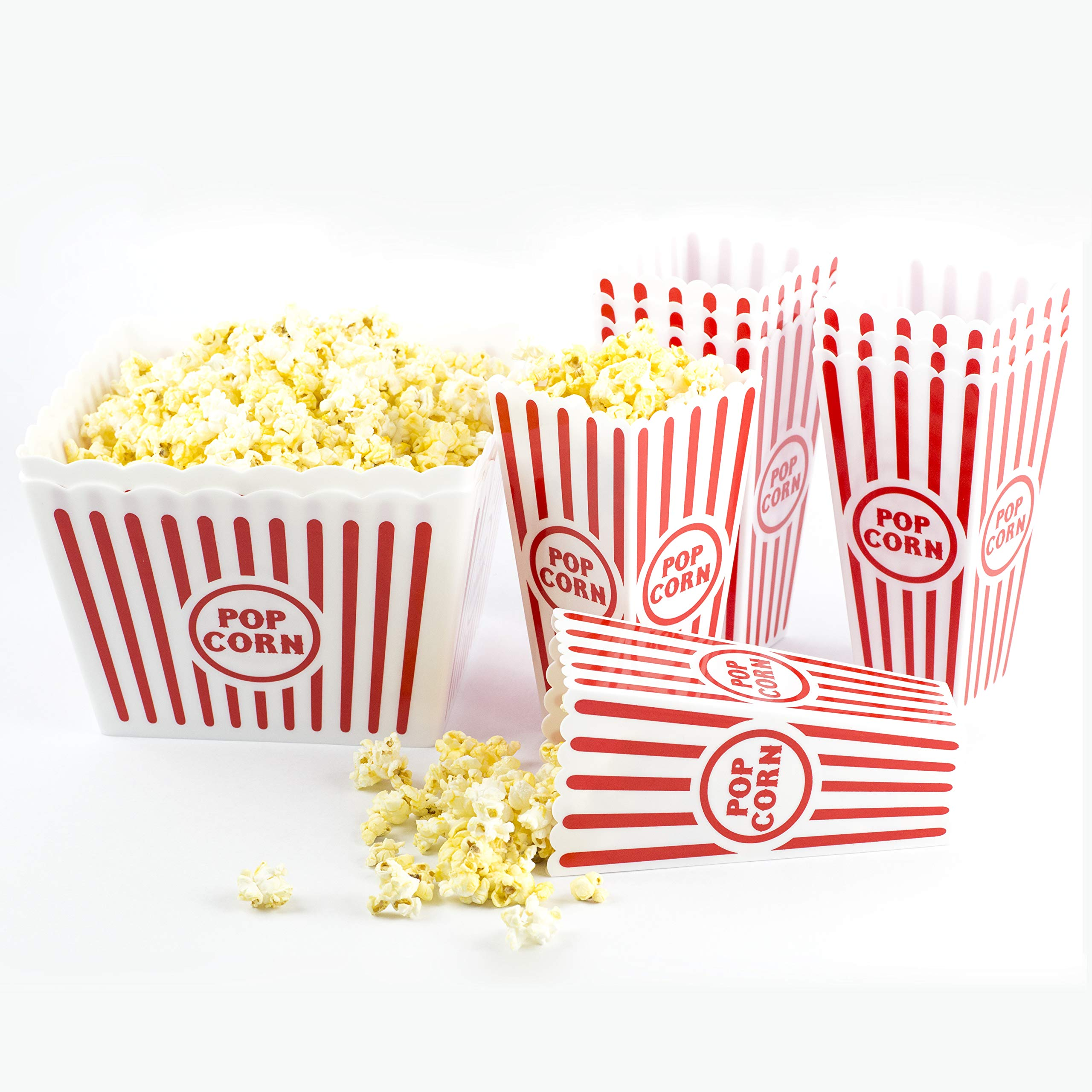 Plastic Popcorn Boxes Reusable | Family Pack x 2 (pack of 10) | Popcorn Buckets Dishwasher Friendly | Sturdy Plastic, Not Flimsy | Movie Theater Style Popcorn Containers | Perfect for Movie Night by Dual 11 LLC