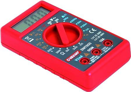Rosso con Sonde Tascabile 6 funzioni VELAMP DMT600 Multimetro Digitale