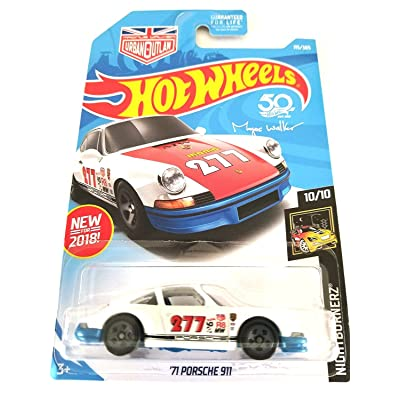 Hot Wheels 2020 50th Anniversary Nightburnerz Magnus Walker '71 Porsche 911 115/365, White and Blue: Toys & Games