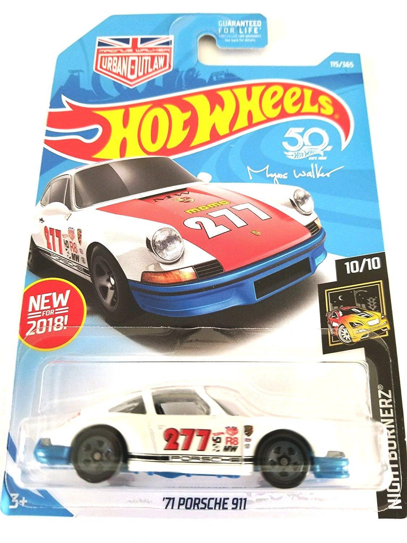 Hot Wheels 2018 50th Anniversary Nightburnerz Magnus Walker '71 Porsche 911 115/365, White and Blue