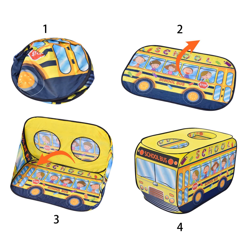 Kids Tent for Indoor /& Outdoor FunLittleToy School Bus Pop Up Play Tent for Kids with School Backpack