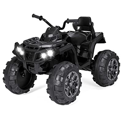 Best Choice Products 12V Kids 4-Wheeler ATV Quad Ride On Car Toy w/ 3.7mph Max Speed, Treaded Tires, LED Headlights, AUX Jack, Radio - Black: Toys & Games