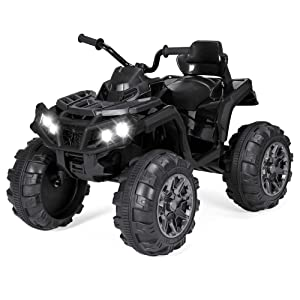 Best Choice Products 12V Kids 4-Wheeler ATV Quad Ride-On Car Toy w/ 3.7mph Max, LED Headlights, AUX Jack, Radio - Black