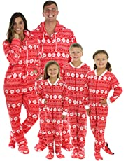 SleepytimePjs Family Matching Red Snowflake Onesie PJs Footed Pajamas