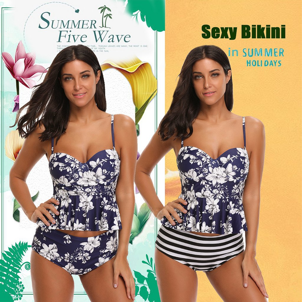 5e45826e01203 SESY High Waisted Tankini Swimsuits Bathing Suit Floral Printed Swimwear  with Briefs for Women