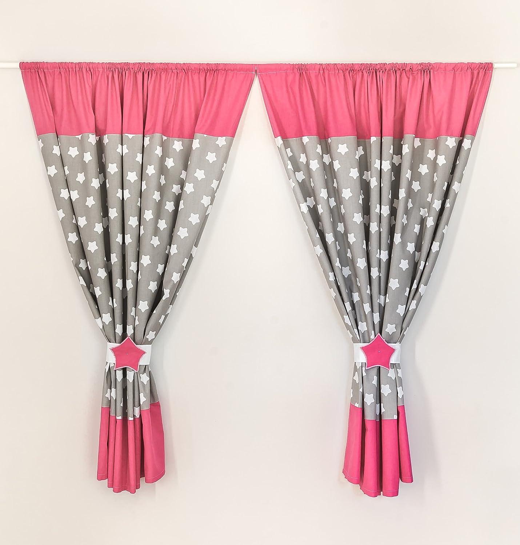 LOOLAY® Kinderzimmer Vorhänge (2 Stück) 155x155cm + Schlaufen Kindergardinen Baby Gardinen MUSTER: Sterne Lebkuchen grau/ rosa