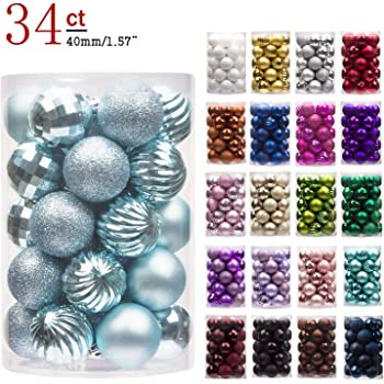 ki store 24ct christmas ball ornaments shatterproof christmas decorations tree balls pastel small for holiday wedding party decoration tree ornaments hooks