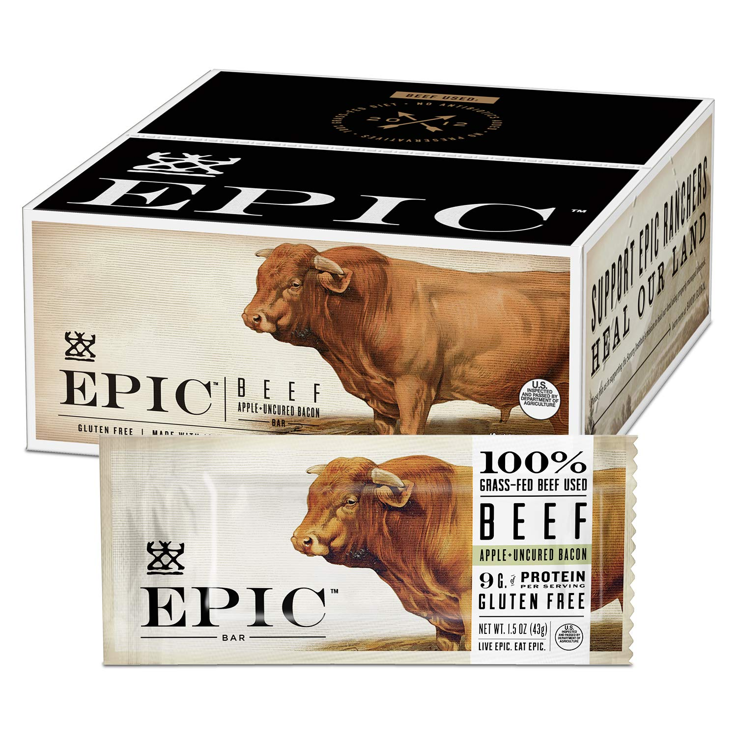 EPIC Beef Apple Bacon Bars, Grass-Fed, Whole30, 12 Count Box 1.5oz bars