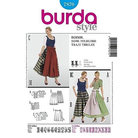 Burda Ladies Sewing Pattern 7870 - Cartamodello per abiti estivi ... 2468ed47bd3c