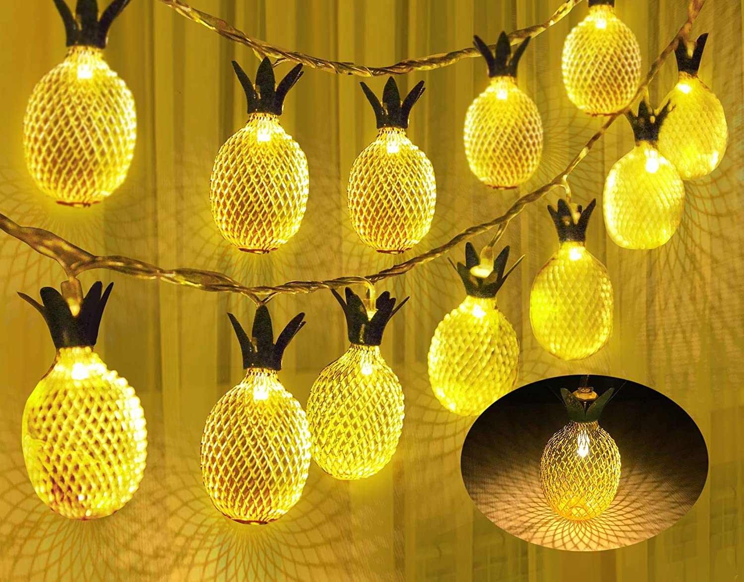 Joiedomi 2 Pineapple String Lights 10ft 10 LED (Warm White) Fairy Lights Battery Operated for Christmas Home Party Wedding Bedroom Indoor Decor