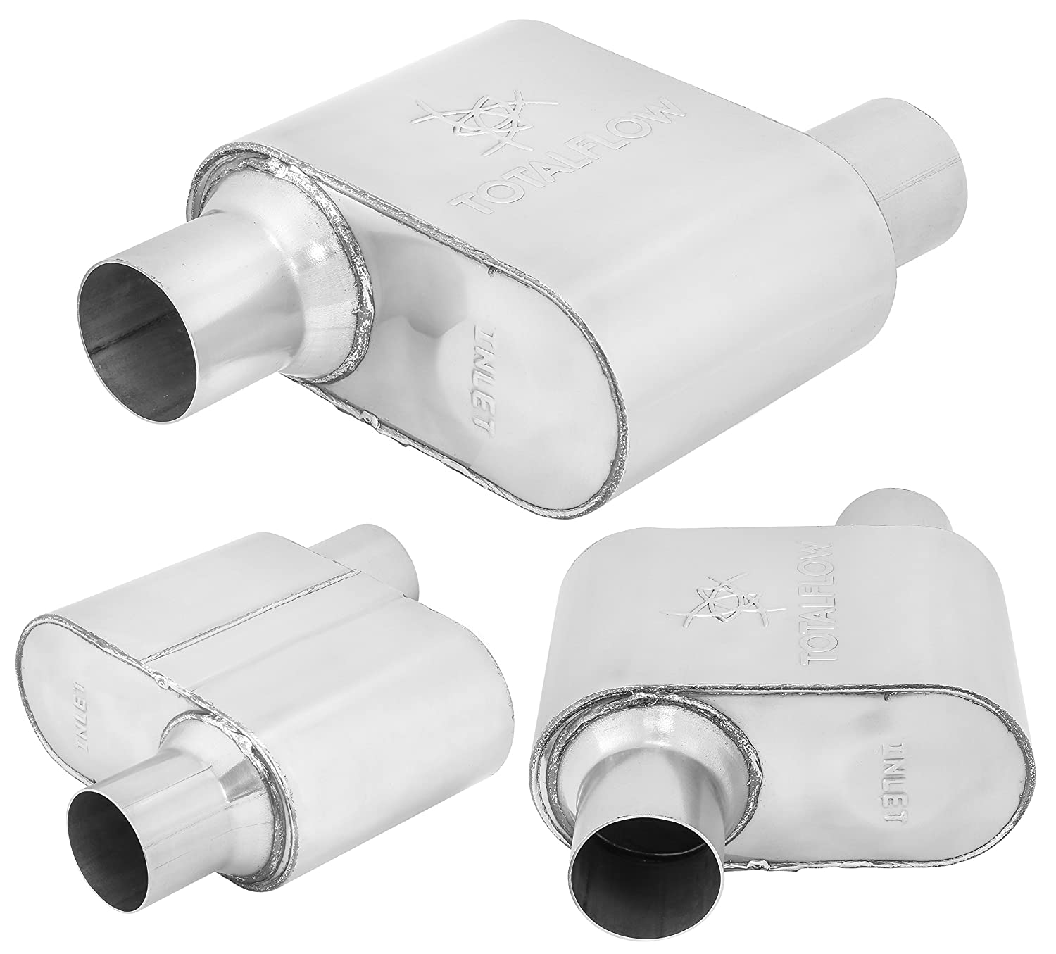 TOTALFLOW 342515-4 Single Chamber Universal 2.5 Muffler 2.5 Dual OUT. 2.5 Dual IN