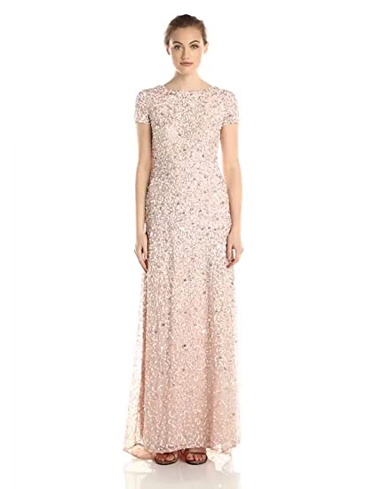 Adrianna Papell Womens Short Sleeve All Over Sequin Gown Petite At