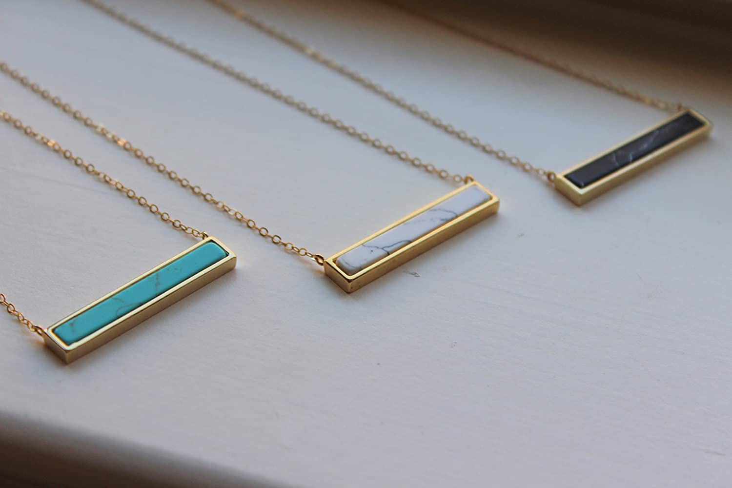 595a49cccc22d Gold Bar Necklace, Bar Jewelry, Marble Necklace, Marble Jewelry, White  Howlite, Turquoise, Black Howlite, 14k Gold Filled Chain, Christmas Gift,  Stone ...