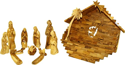 Holy Land Market Olive Wood Large Nativity Set Figures and Large House 14 in Wide House