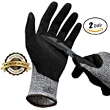 Hilinker Cut Resistant Gloves Highest Performance Knife Scissors Hands & Body EN388 Level 5 Protection Kitchen Work Safety Hand Protector Lightweight Durable Comfortable (2 Pairs)