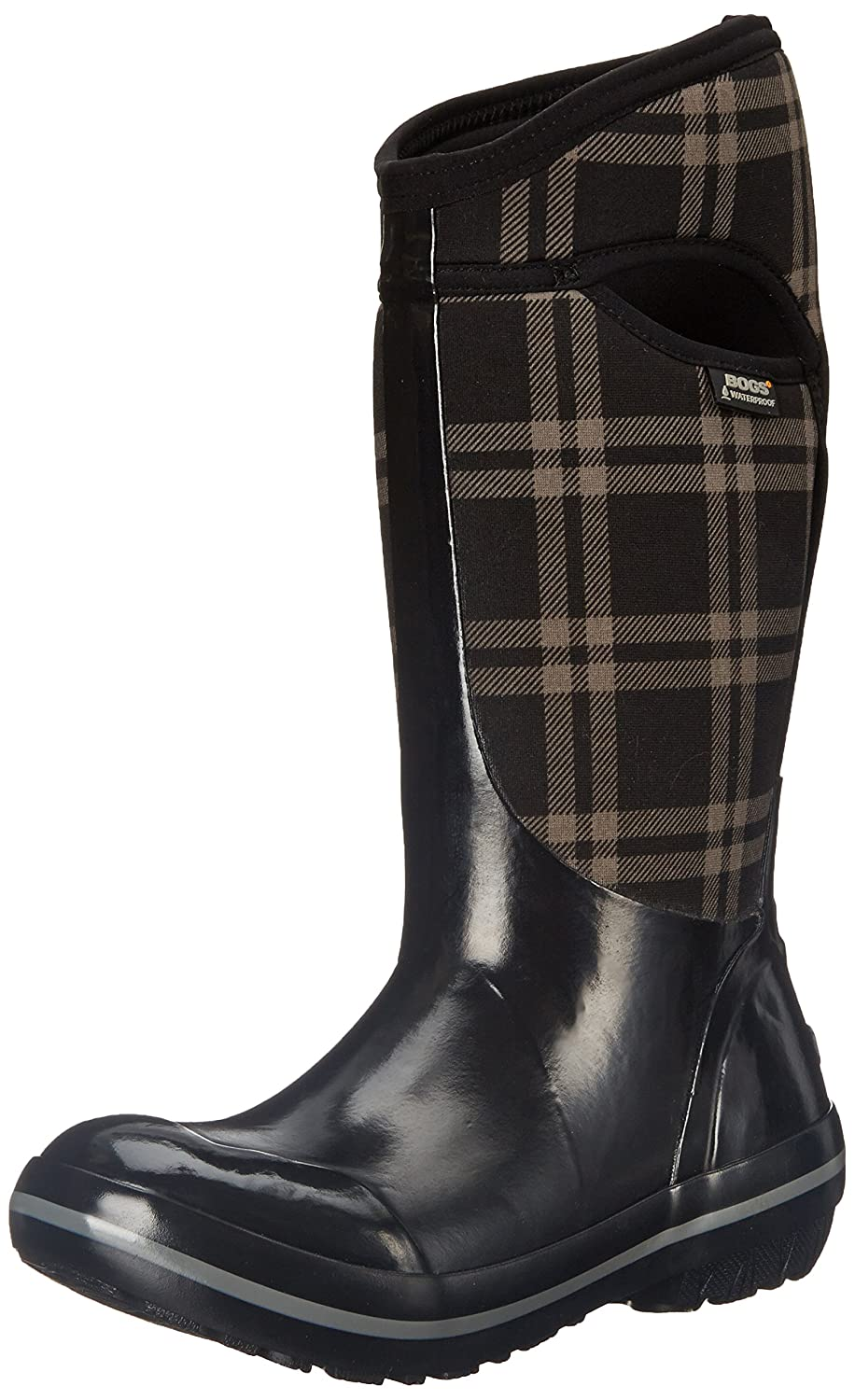Bogs Women's Plimsoll Plaid Tall Winter Snow Boot B00QMME5UQ 6 B(M) US|Black